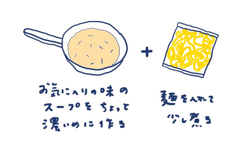焼きそばの麺でラーメン