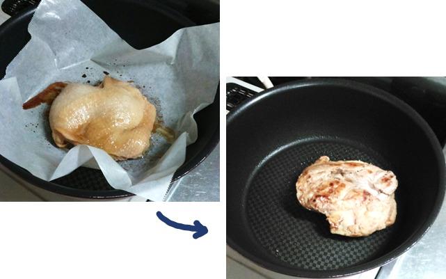 ②フライパンで皮を焼く