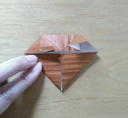 縄文土器先生の顔(土台部分)の折り方⑤