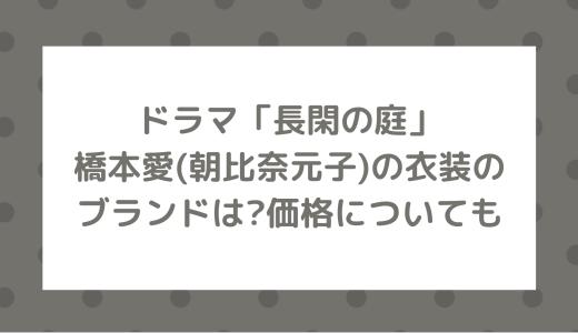 ドラマ長閑の庭|橋本愛(朝比奈元子)の衣装のブランドは?価格についても