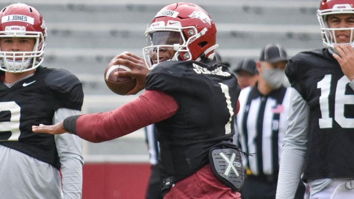It looks like Hogs going with KJ at quarterback, says Chavanelle