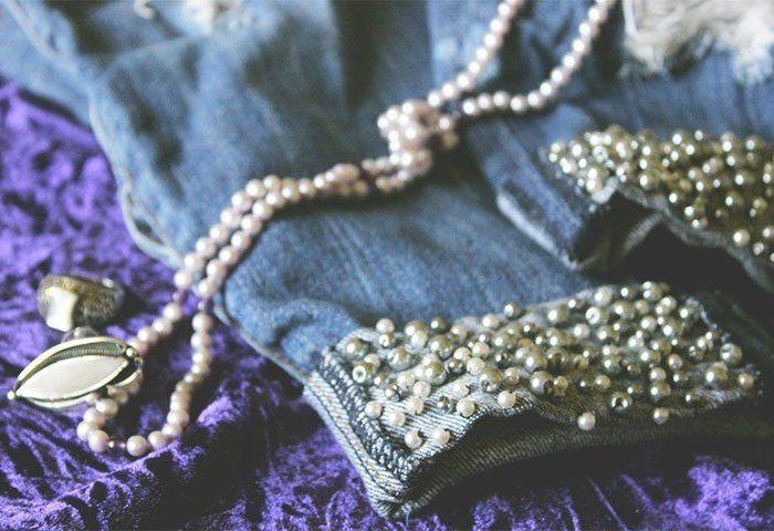 DIY: Pearl Embellished Boyfriend Jeans