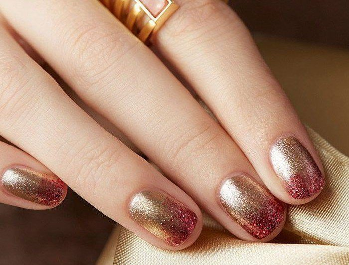 Red and Gold Jingle Bell Ombré Nail Art Tutorial with Julep