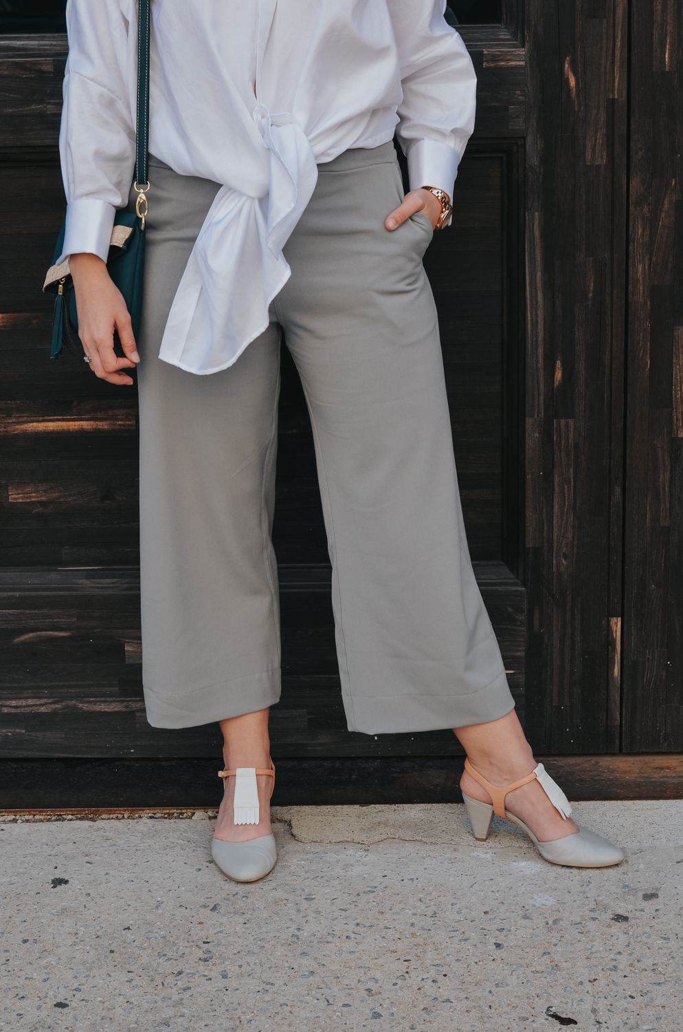 Narrow Arrow grey culottes and shirt, @alterreny shoes | fall fashion trends, wide leg pants, trending, new york fashion week, street style