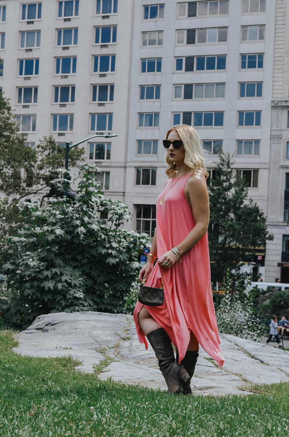 New York Fashion Week Look: Coral Maxi Dress and Knee High Boots - the perfect summer to fall transition look.