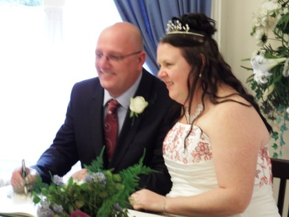 The bride and groom, Keeley and Phil