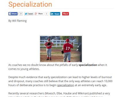 Early Sport Specialization