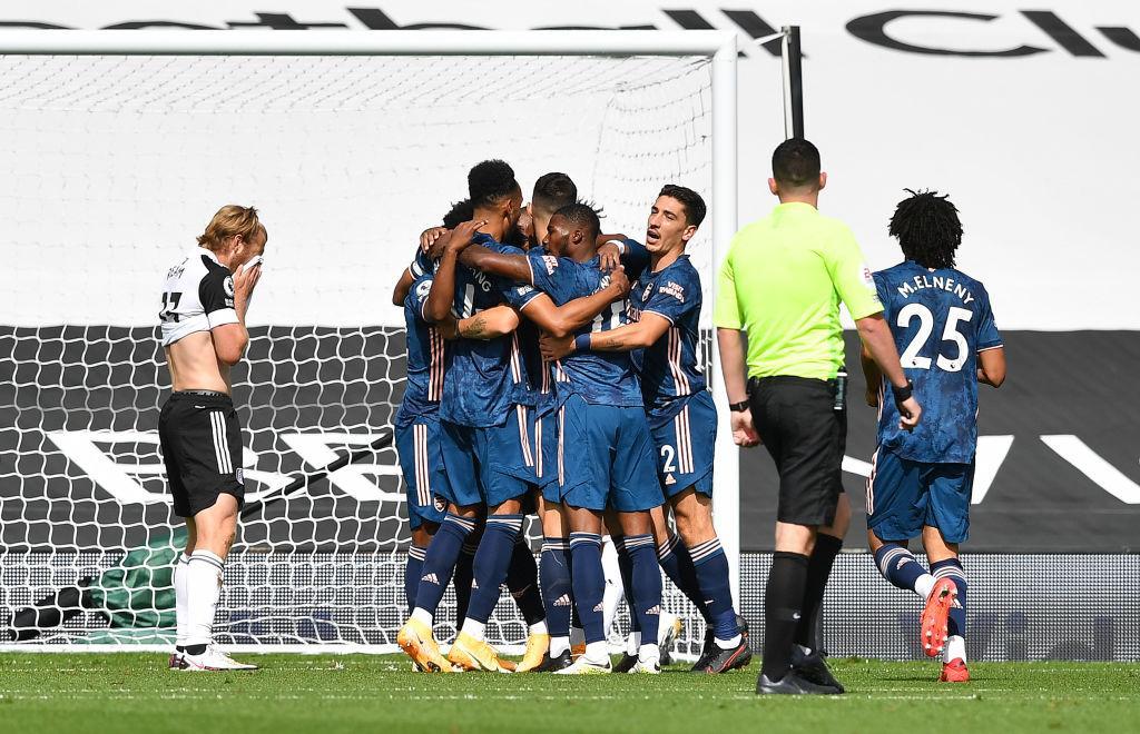 Arsenal celebrating Lacazette goal against Fulham