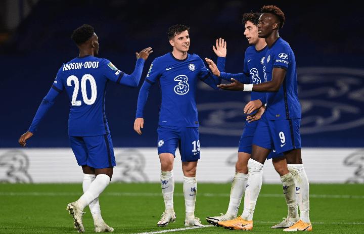 Chelsea celebrating win over Barnsley