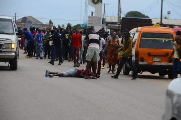 Jubilating Obaseki's supporter falls from speeding vehicle