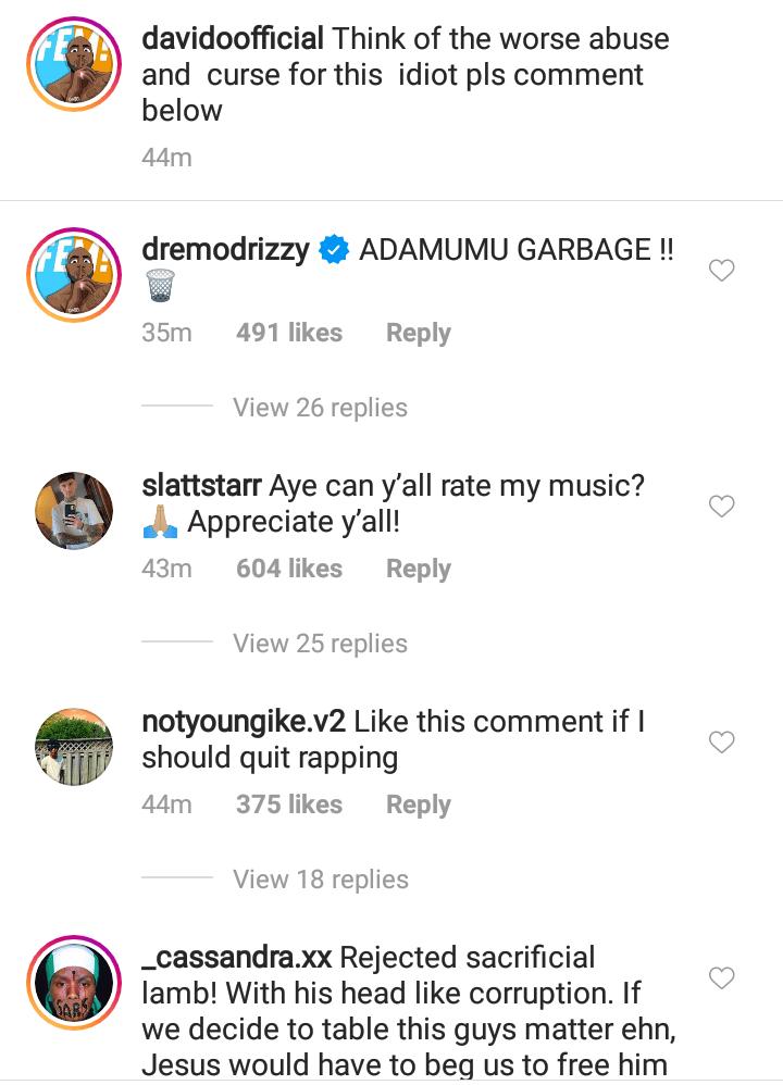 Davido Instagram post