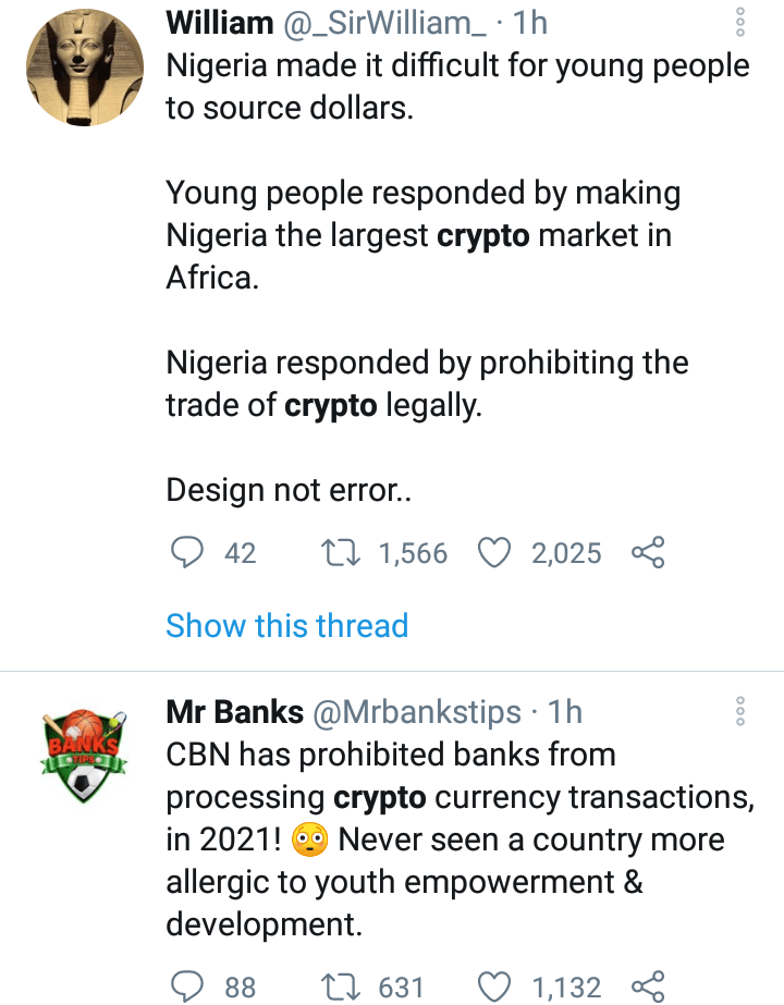 Nigerians react as CBN bans buying, selling of bitcoin, other cryptos