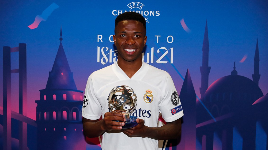 Vinicius Junior with his Man of the match award against Liverpool