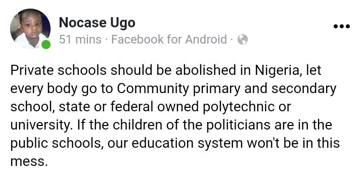 Nocase Ugo Facebook post