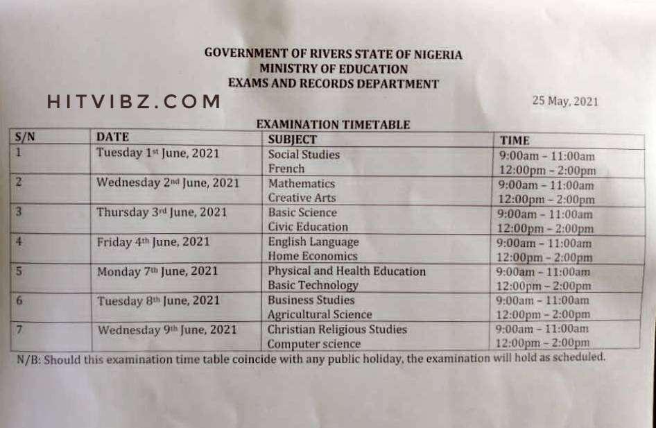 2021 Junior WAEC Timetable