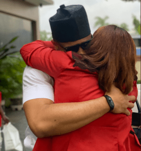 Ozo's mother gives him a big hug as they reunite after his eviction