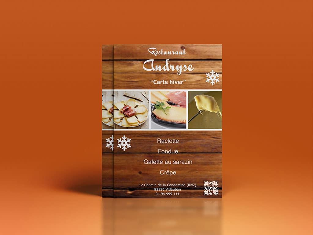 Flyer promotionnel restaurant Andryse