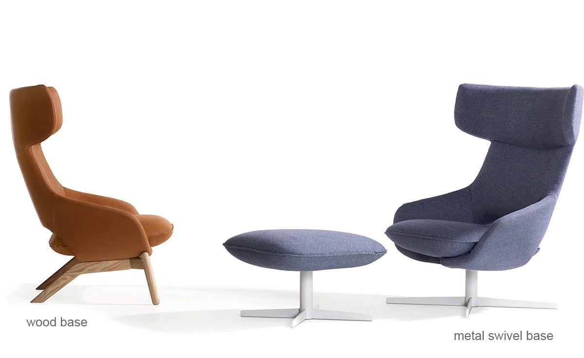 Kalm Swivel Metal Base Lounge Chair Amp Ottoman