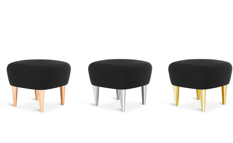wingback ottoman with metal legs