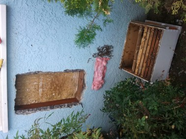 Inside of wall after honeycomb removal.