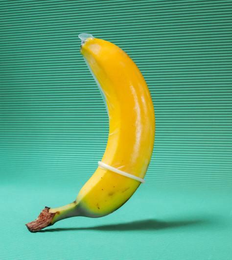 banana wearing a condom