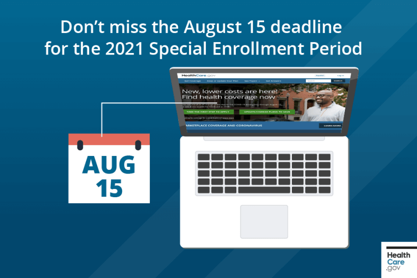laptop computer illustrating August 15 deadline for Health Plan enrolment