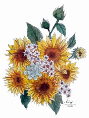 Watercolor flowers - Sunflowers