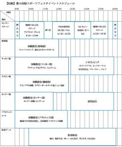 桜スポーツフェスタ当日のイベント予定表(慶應義塾大学のニュースリリースより)
