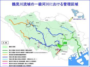 国土交通省による鶴見川流域の全体図(京浜河川事務所のホームページより)※クリックで拡大