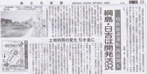 日吉と綱島での再開発が加速していることを伝える新聞記事(神奈川新聞2016年8月)