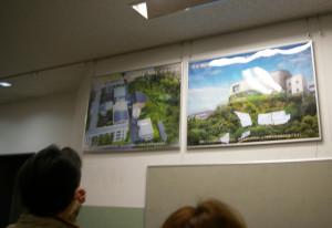 新教育棟(仮称)のイメージパネル。多くの人が見入っていました