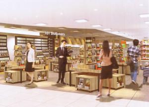 リニュ―アル後の「天一書房日吉店」のイメージ。文具売り場が大幅に増強される(同店提供)