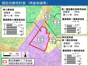 計画地は、本来は高さ20メートル以内の制限がかかっている地域だが、市は広場などの公共用地として提供することを条件に高さ60メートルまでを認めたことが妥当か否かが大きな争点となっている(市の素案説明会スライドより)