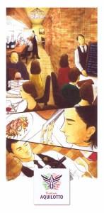 アルピノ時代に来店してくれていた客が描いてくれたというイラストを使用した新しいお店の案内ハガキ。「日常、利用してもらいたい」という工藤さんらの想いも伝わってくる(トラットリア アクイロット提供)