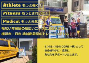 YOKOHAMA TRAINING GYM CORE(ヨコハマ・トレーニング・ジム・コア)の公式サイトがリニューアル!洗練された黄色と紺の色使い、スマートフォンにも対応した画面で、より見やすくなった