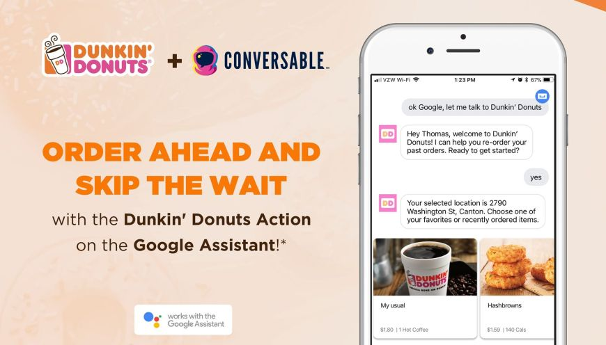 Dunkin' Donuts Integrates On-the-Go Mobile Ordering With the Google Assistant