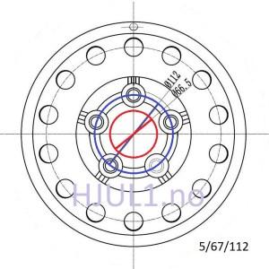 5x112 tilhengerfelg - 5/67/112