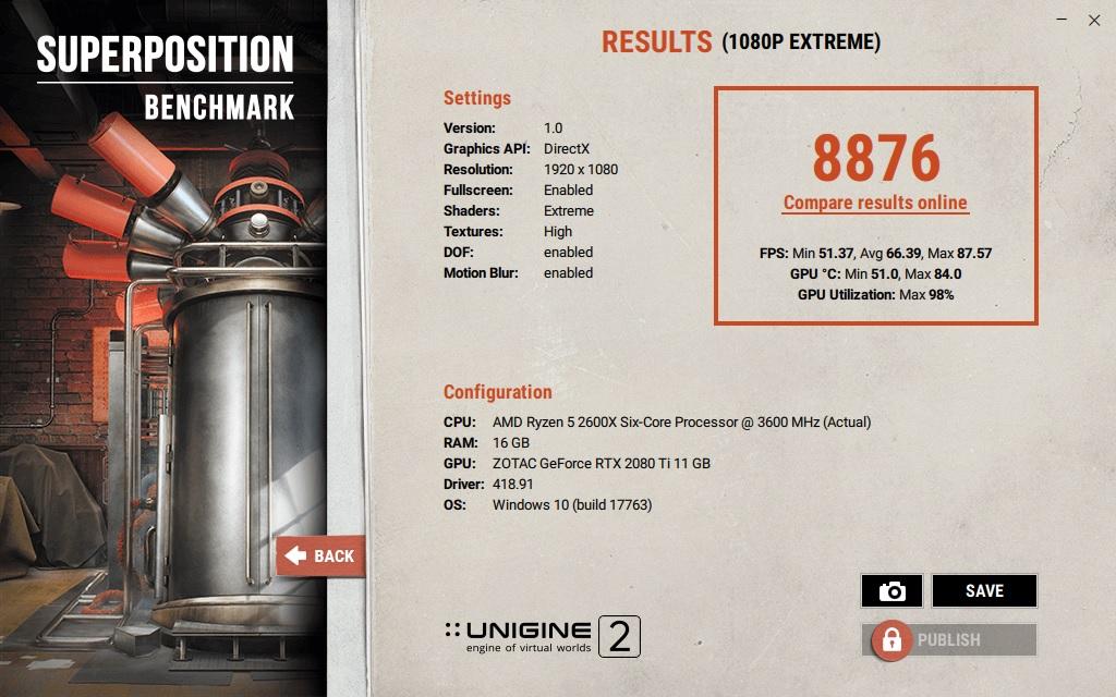 Unigine 2 – Superposition (1080p Extreme)