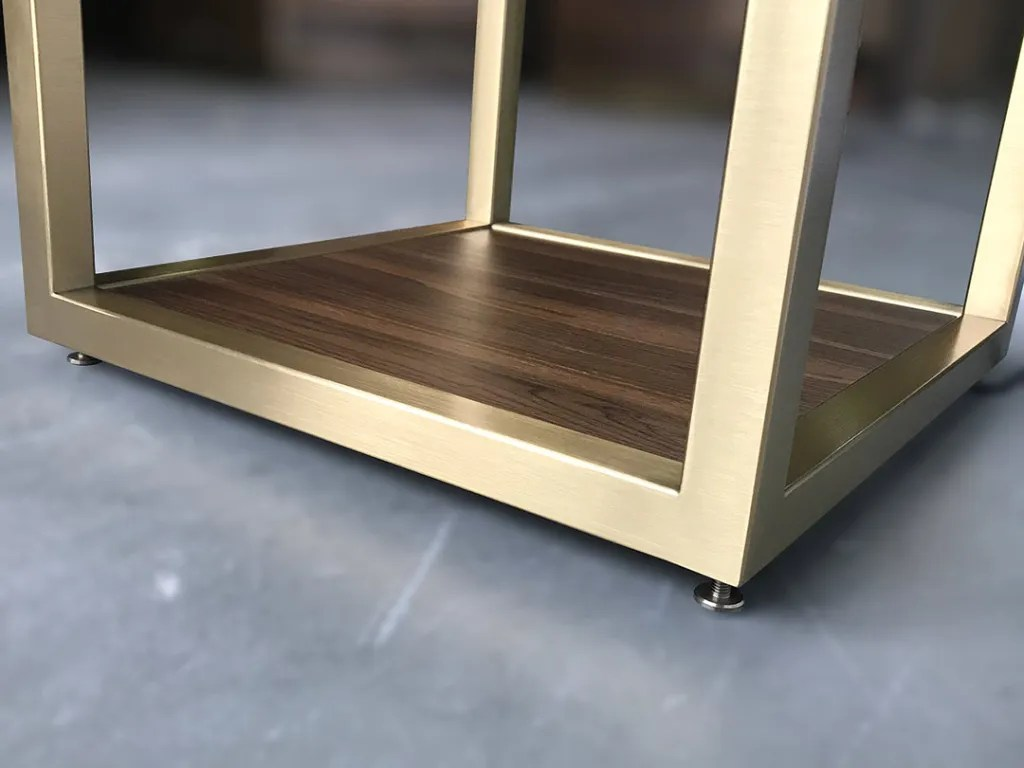S-02 Brushed Stainless Steel Brass Finish Frame   Besty Display