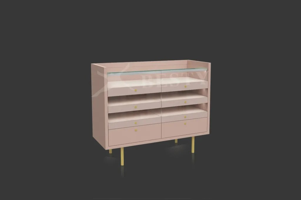 Pink Display Case with Drawer | Besty Display