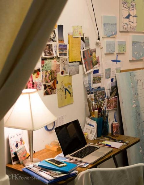Whitney's Desk in her Painting Studio
