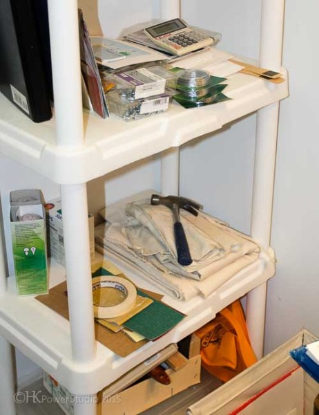 Shelves hold a minimum of supplies