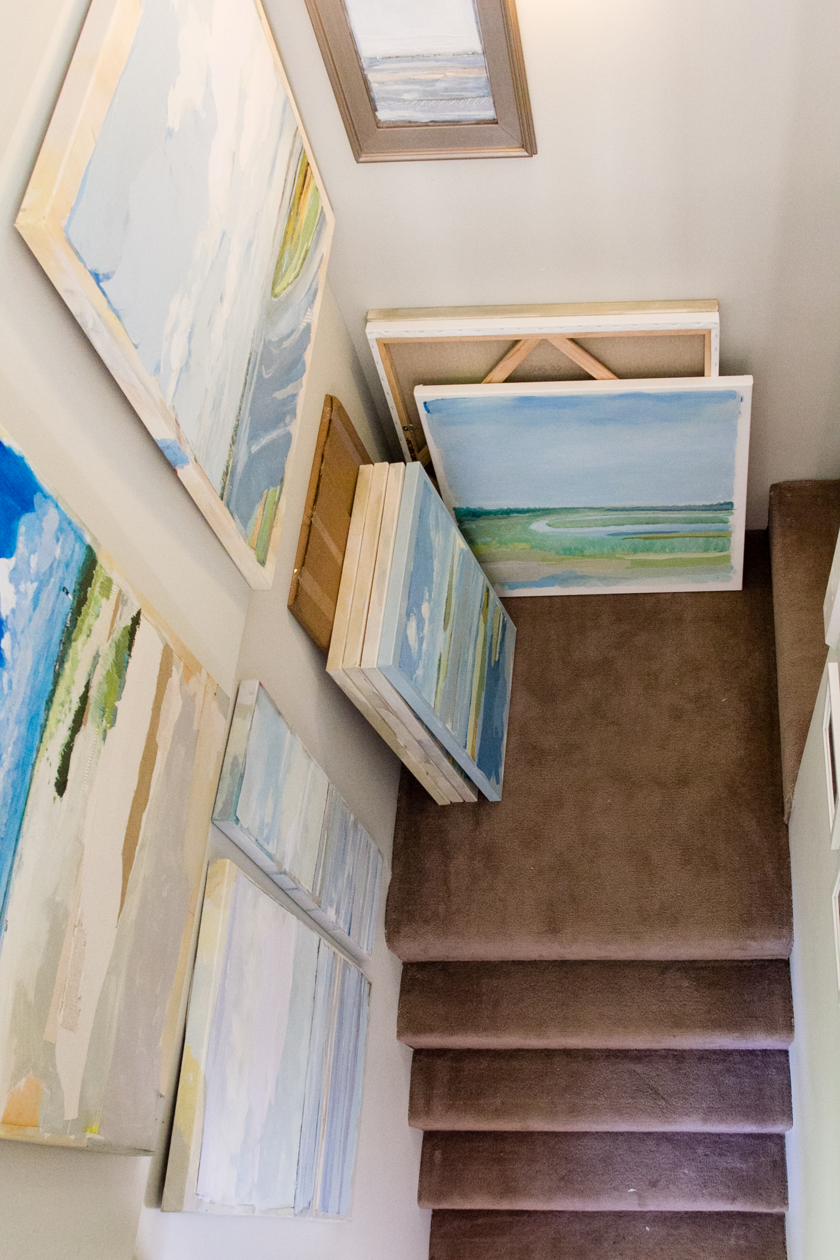 Art storage on the stairs