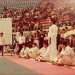 梁伯偉師傅為香港隊成員參加男子隊制搏擊比賽  Sensei Patrick P. W. Leung, representing Hong Kong in a team kumite competition