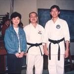 梁伯偉師傅及吳冰姸小姐與真野高一師範合照 Sensei Patrick P. W. Leung, Ms. Venus B. Y. Ng with the late Sensei Takaichi Mano