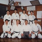 集訓隊參加木田善久師範〔前左二〕道場練習後攝 The training team at the Dojo of Sensei Y. Kida [front row, 2nd on the left], after a training session