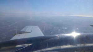 View out the left side of the turboprop of Southern California