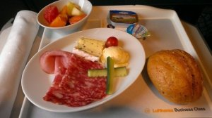 Delicious coldcuts and cheese on such a short flight. Beats eating the mystery meats in Asia.