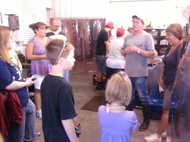 Tour Guide Showing us Shatto's Bottling Operations Room