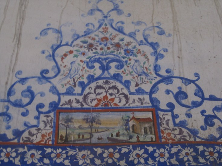 Painting Dominican church in Julfa, Isafahan perhaps representing the missionaries' arrival in Isfahan (c) MvdB